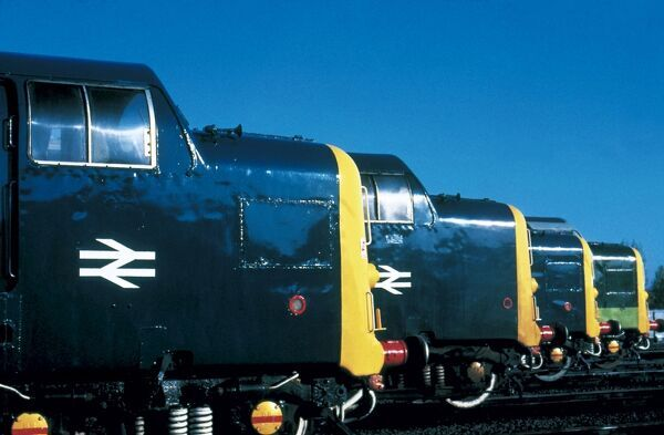 A row of Class 55 Deltic diesel locomotives built by English Electric in 1961-1962. The fleet of 22 Deltics did the work of 55 A4 steam locomotives and cut an hour off the working timetable. Each powered by two Napier 'Deltic' engines