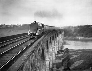 Coronation A4 Class steam locomotive crosses the Royal Border Bridge at Berwick-upon-Tweed