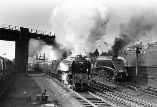 The Aberdonian, an A1 Class steam locomotive No 60158 departing from King's Cross. Alongside the Aberdonian is the 'Golden Plover', an A4 Class steam locomotive, No 60031, carrying the headboard of the London to Edinburgh 'Elizabethan' service