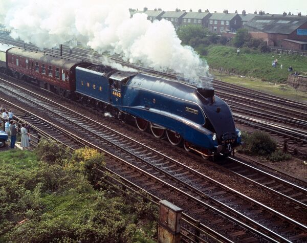 'Mallard' pulling a Friends of the National Railway Museum 10th anniversary special, 'The Scarborough Flyer', heading for Scarborough via the Harrogate-Leeds-York loop, 26 April 1987. The A4 Pacific class 'Mallard' was designed by Sir Nigel Gresley