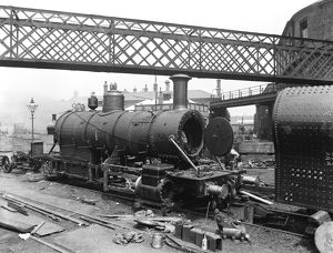 Baldwin engine under construction, about 1898
