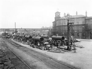 Baldwin engines under construction, about 1898