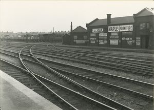 Cambridge station, view from station platform looking East, the two curved sidings