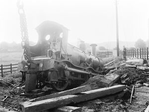Derailment at Duffield, Derbyshire, about 1900