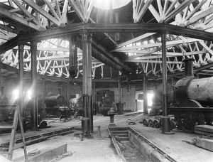 Engine shed at Derby, 1905