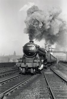 'Flying Scotsman' A3 Class steam locomotive leaving Leeds station, 1956