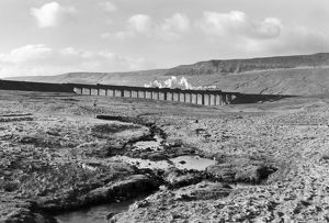 A goods train crossing the Ribblehead Viaduct, North Yorkshire, c 1950s