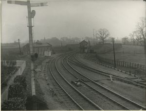 Huntingdon station, Great Northern and Great Eastern Railwaylocomotive shed on left