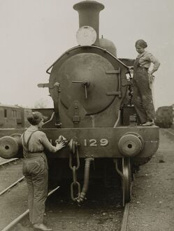 Locomotive cleaners, about 1916