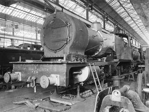 Locomotive in the erecting shop at Derby works, 1902