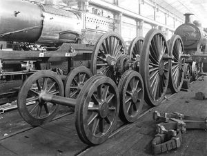 Locomotives and wheels in the erecting shop at Derby works, 1902