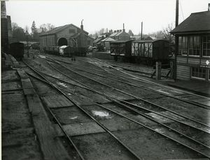 Looking north-west from loading bank to goods shed and goods enquiry office at Saffron