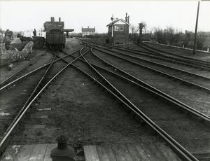 Mildenhall, view from corner of goods shed looking into station, the turntable is