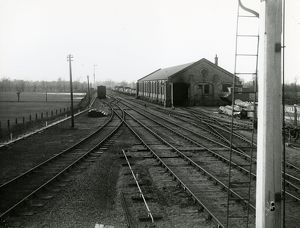 Mildenhall, view west from signal near the station signal box with goods shed in