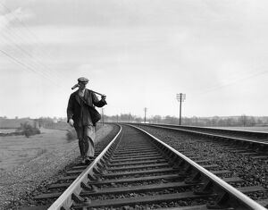 Patrolling the permanent way, Manningtree, Essex, May 1948