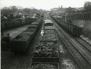 Saffron Walden railway sidings, looking east from Debden Road overbridge. At top