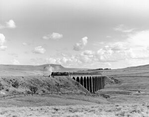 Steam trains going over the Ribblehead Viaduct, Settle and Carlisle line, c 1958