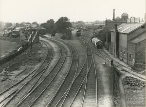 Sudbury station goods yard, forming part of original terminal station, in right background