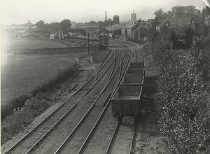 Sudbury station, view North West, the passenger station in left background. Goods