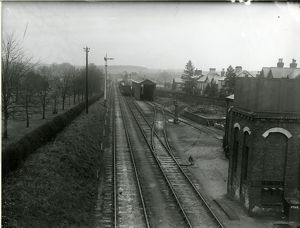 View east from South Road at Saffron Walden station. Left running line. Branch train