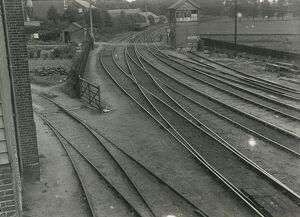 View of Goods Junction signal box. Private siding passes behind signal box to wharf
