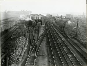 View looking east at Bury St Edmunds station in about 1910. In the foreground are