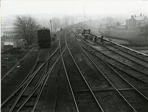 View looking east at Dunmow railway station yard, about 1911